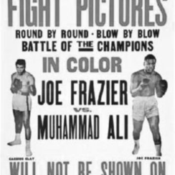 "Joe Frazier Muhammad Ali Fight Poster Black and White Poster 24""x36"""