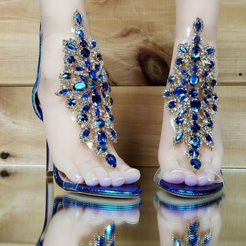 "Bella Luna Rylee Rhinestone Jeweled 4"" High Heel Sandal Shoe Mermaid Hologram"
