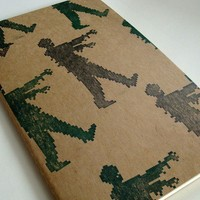 Zombie Moleskine Journal (lined) 8 bit zombies attack large notebook video game