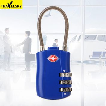 New 2pcs/set TSA Customs luggage lock metal suitcase bag lock with three layer password anti-theft lock steel wire rope locks