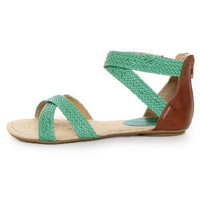 City Classified Fazan Teal Braided Flat Sandals - $21.00