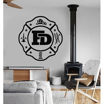 Vinyl Wall Decal Fire Department Logo For Firefighter Fireman Stickers (3270ig)