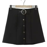 Black Button Front Tied A-line Skirt