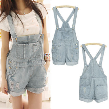 Light Blue Denim Distressed Jumpshort