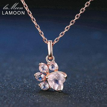 LAMOON Bearfoot Pendant Necklace Jewelry 925 Sterling Silver Necklaces Natural Rose Quartz Rose Chain Fine Jewelry NI027