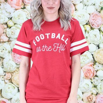 Football on the Hill Short Sleeve Ringer Tee {Vintage Red}