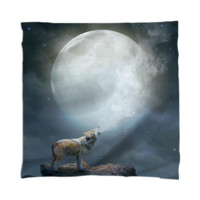 The Light of Starry Dreams (Wolf Moon) Mini Wall Tapestry / Scarf created by soaringanchordesigns | Print All Over Me