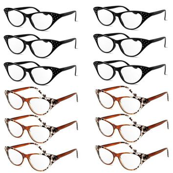 Women Rhinestone Cat Eye Sexy Vintage Style Clear Lens Reading Glasses