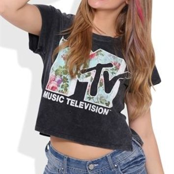 Short Sleeve Crop Top with Floral MTV Screen Print