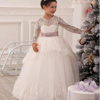 Cheap Christmas Lace Flower Girl Dresses Long Sleeve Hollow Back Floor Length Bow Sash Princess Ball Gown Pageant Kid's Dress