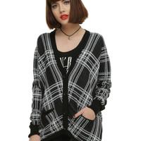 Black White & Navy Plaid Girls Cardigan