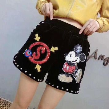 DCCKVQ8 Disney Mickey Mouse Cartoon Sequin Embroidery Fashion Rivet Casual Women Shorts