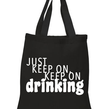 "Nick Jonas ""Champagne Problems - Just Keep On, Keep On Drinking"" 100% Cotton Tote Bag"