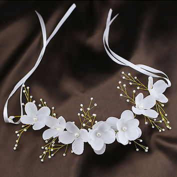 Wedding Hair Accessories For Bridal Lace Flowers Crystal Pearl Headbands Korea Trendy Floral Tiaras Crowns  Women Hair Headdress