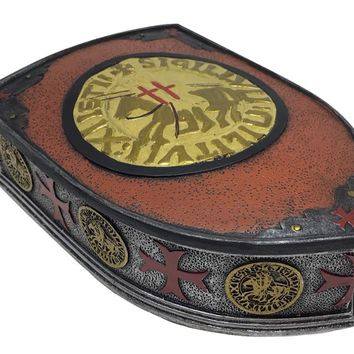 Templar Knight Crest Shield Medieval Crusades Red Gold Silver Decorative Trinket Box 7.5L