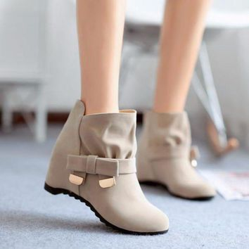 PEAP2Q Lovely Ribbon Mid Calf Wedge Ankle Boots