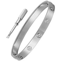Stainless Steel Silver Designer Inspired Screw Head Oval Bangle Bracelet for Women (6.5 Inches)
