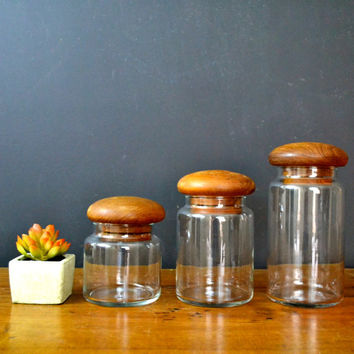 Set of 3 Glass Jars with Wood Lids, Danish Modern Bottle, Glass Canister, Danish Modern Teak Lid, Kitchen