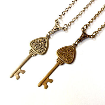 LOVE key necklace, romantic jewelry, Valentine's Day gift, anniversary present, wedding token
