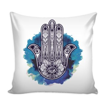 Ornate Hand Drawn Hamsa Pillow Cover