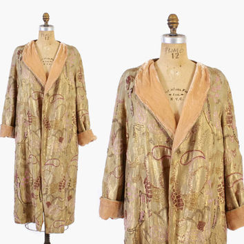Vintage 20s Gold LAME COAT / 1920s Fully BEADED Peach Silk Velvet Lining S