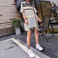 """Louis Vutitton"" Women Loose Personality Multicolor Logo Print Short Sleeve Middle Long Section T-shirt Mini Dress"