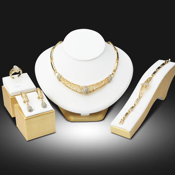 Elegant Jewelry 18K Gold Plated Imitation Diamond Jewelry Sets for Women Party Gift Earrings Bracelet Ring Necklace 4PCs Set