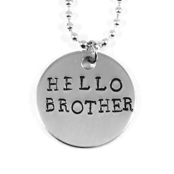 The Vampire Diaries Hello Brother Hand Stamped Aluminum Necklace