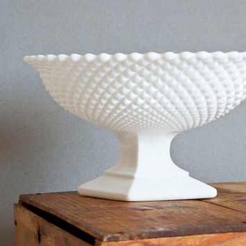 Vintage Westmoreland English Hobnail Oval Pedestal Bowl, Milk Glass Footed Fruit Bowl, Diamond Point Milkglass Compote, Wedding Centerpiece