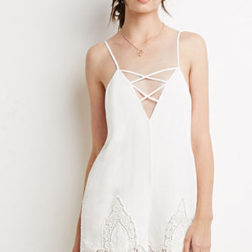Strappy Crochet-Paneled Romper