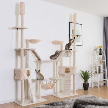 Gymax Large Cat Tree Multilevel Activity Tower Condo W/ Hammock Scratching Post Ropes