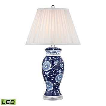 Hand Painted Ceramic LED Table Lamp In Blue And White With Acrylic Base