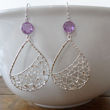 Lilac and Silver Drop Earrings - Purple Earrings - Silver Earrings - Silver Teardrop Earrings - Chandelier Earrings - Mothers Day Gift