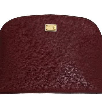 Bordeaux Leather Cosmetic Toiletry Bag