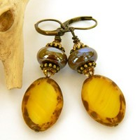 Yellow Czech Bead Earrings Brown Glass Brass Short Dangle Handmade