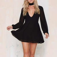 Black Plunging V-Neck Chiffon Dress