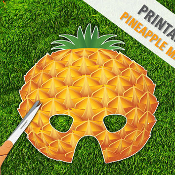 Pineapple Printable Party Mask | Tropical Fruit Mask | Inexpensive Play Props