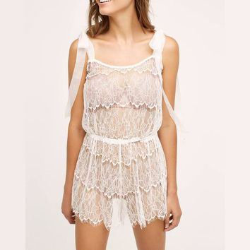 Ruffled Lace Romper  Boudoir Honeymoon Lingerie Comfy Sleepwear Pjs ultimate Nightie Cami Set