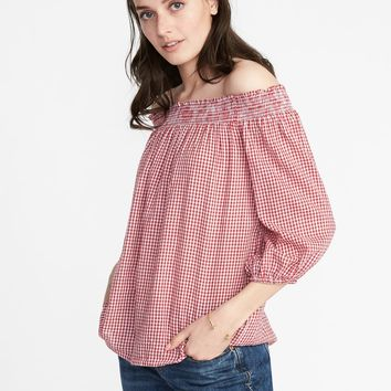 Off-the-Shoulder Gingham Top for Women |old-navy