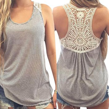 CHAMSGEND Women Summer Lace Vest Top Short Sleeve Blouse Casual Tank Tops T-Shirt Drop Shipping 1F7