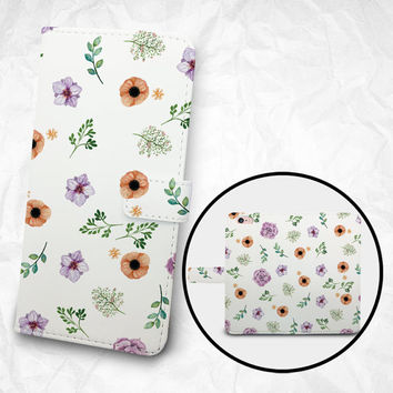 iPhone 6 6S Plus case, Samsung Galaxy S6 case, Edge case, Note 5 4 3 2 PU leather flip cover, wallet case, flowers prints (BBSP-028)
