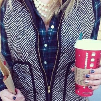 Black and White Striped Vest