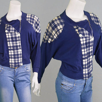 Vintage 80s Tartan Jumper Batwing Sweater Plaid Sweater Navy Blue & White Checked Pattern 1980s Jumper New Wave Oversized Sweater Grunge