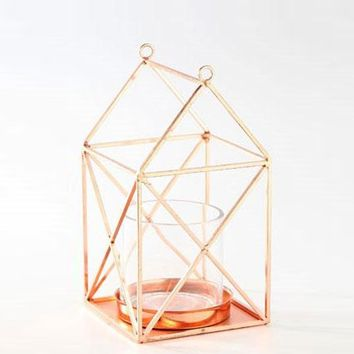 "Copper Geometric Metal Candle Holder - 10"" Tall x 5.5"" Wide"