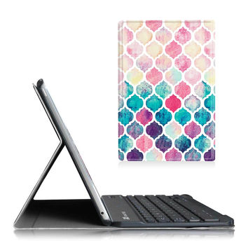 Fintie Blade X1 iPad Air 2 Keyboard Case - Ultra Slim SmartShell Stand Cover with Magnetically Detachable Wireless Bluetooth Keyboard for Apple iPad Air 2 (2014 Model) Moroccan Love Z-Colorful Mosaic