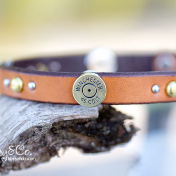 Leather Concho Winchester Dog Collar