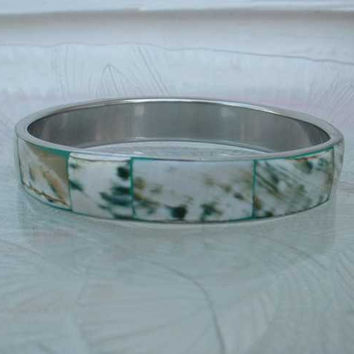 Green Dyed Bone Bangle Bracelet Abstract Marbled Design Vintage Jewelry