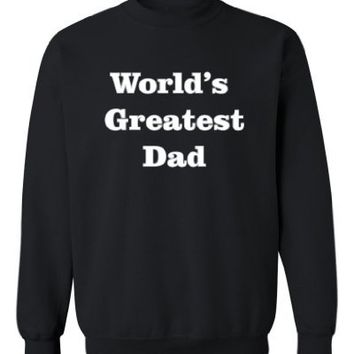 So Relative! World's Greatest Dad (Grey & White) Adult Sweatshirt (Black, Medium)