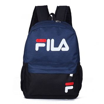 FILA Fashion New Letter Print Women Men Leisure Backpack Bag Navy Blue
