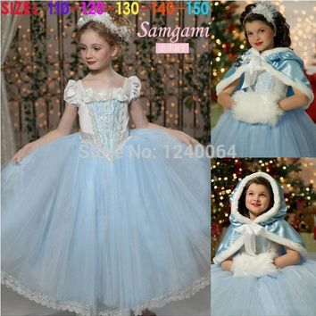 2015 New Cinderella Kids Dress Retail Princess Girl Dress With cape wedding For Cinderella Cosplay Costume Girl Fancy Dresses